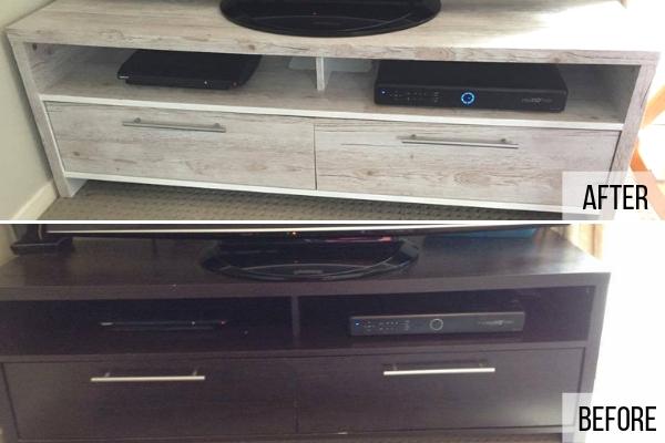 TV unit in whitewashed wood