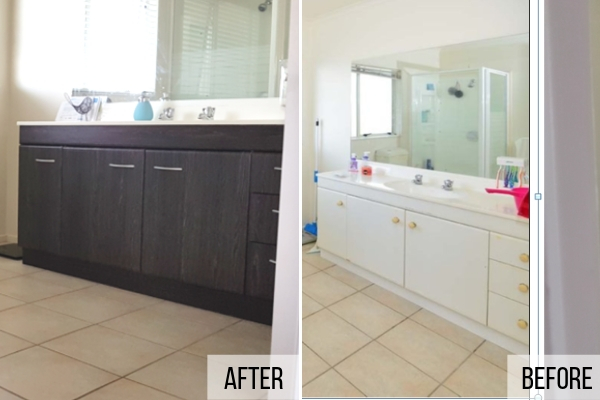 Vanity before and after vinyl application