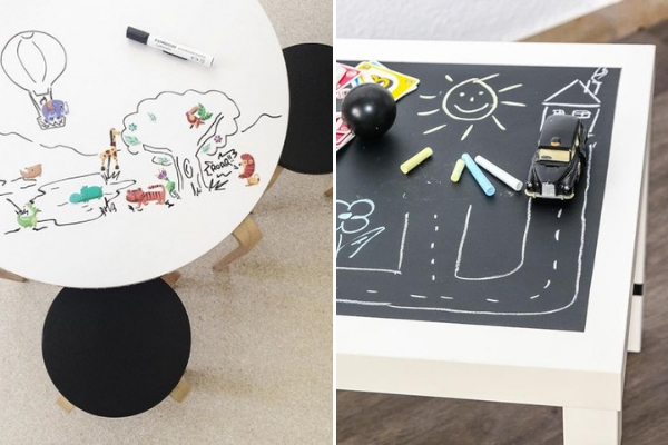 blackboard and whiteboard film in kidsroom